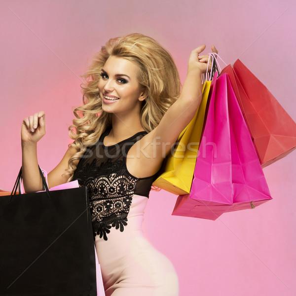 Souriant belle femme heureux mode femme Photo stock © oleanderstudio