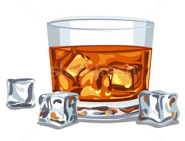 Vidro uísque ilustração beber álcool Foto stock © olegtoka