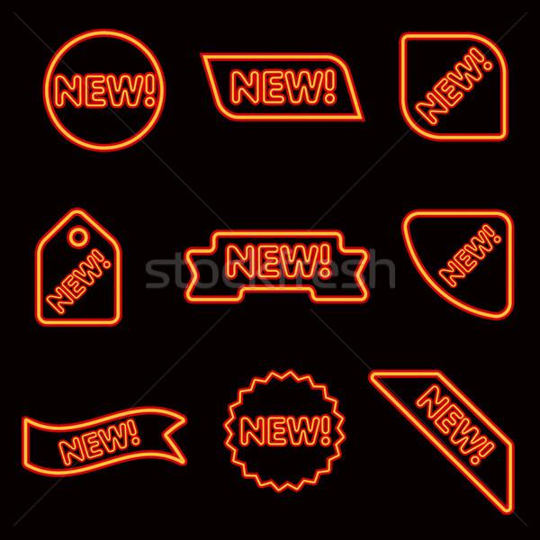 Neon izzó hirdetés bannerek illusztráció háló Stock fotó © olegtoka