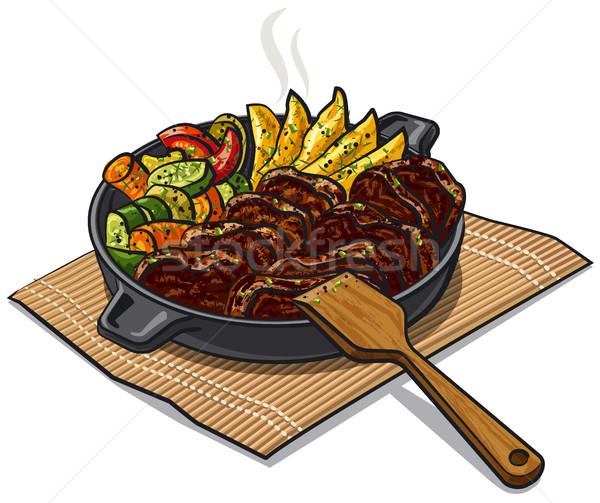 Pörkölt hús zöldségek illusztráció serpenyő vacsora Stock fotó © olegtoka
