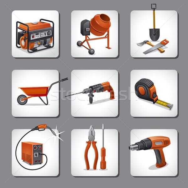 Сток-фото: строительство · инструменты · иконки · иллюстрация · работу