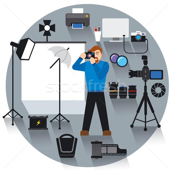 Profi fotó stúdió illusztráció felszerlés számítógép Stock fotó © olegtoka