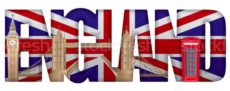 Inghilterra illustrazione segno ponte viaggio bandiera Foto d'archivio © olegtoka