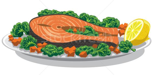 Preparado salmón limón ilustración placa peces Foto stock © olegtoka