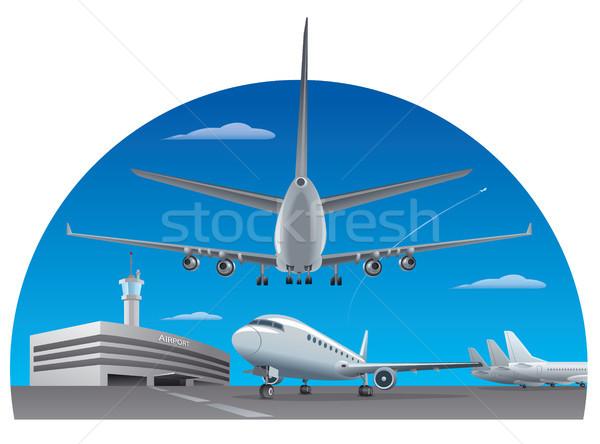 Repülőtér repülőgépek illusztráció épület háttér mező Stock fotó © olegtoka