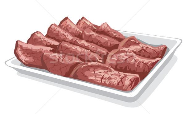 Sült szeletel borjúhús illusztráció tányér étel Stock fotó © olegtoka