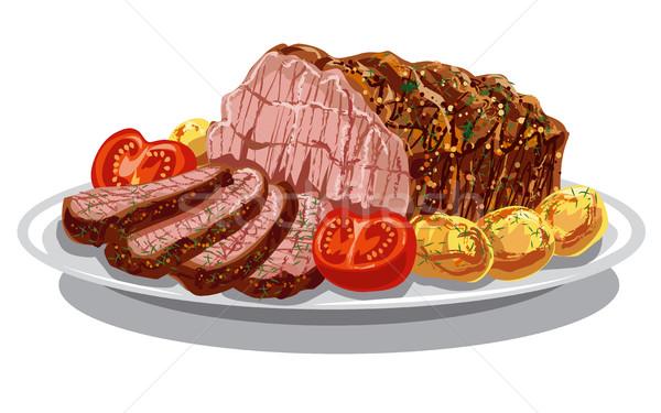 иллюстрация обеда стейк обед картофеля Сток-фото © olegtoka