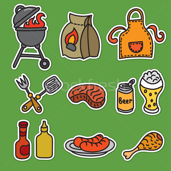барбекю пикника набор мяса гриль Сток-фото © olegtoka