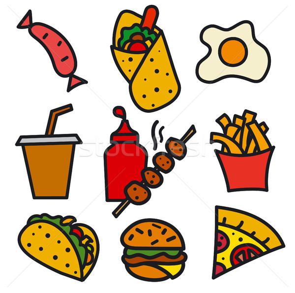 étel ikon illusztráció szett utcai étel ikonok Stock fotó © olegtoka