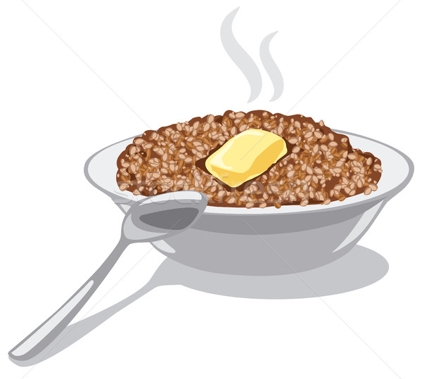 Vaj illusztráció tál asztal tányér reggeli Stock fotó © olegtoka