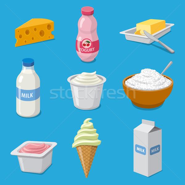 молоко продукции иконки иллюстрация молочная Сток-фото © olegtoka