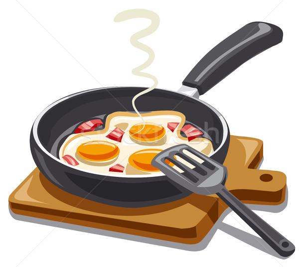 жареный яйца бекон иллюстрация завтрак Сток-фото © olegtoka