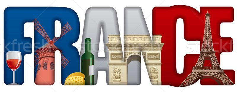 Franciaország illusztráció felirat utazás szolgáltatás turizmus Stock fotó © olegtoka