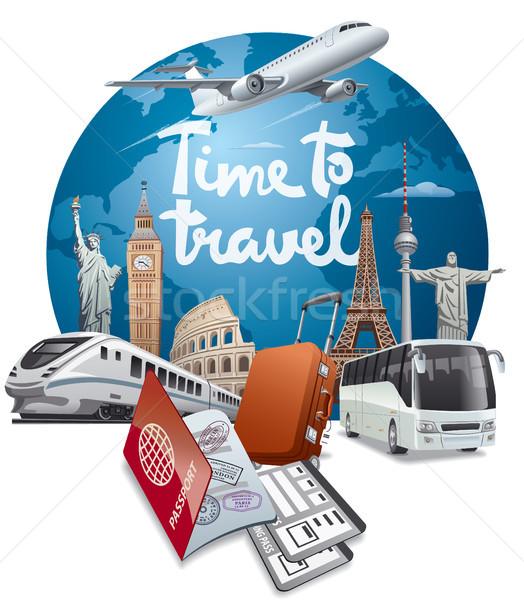 Világutazás utazás illusztráció utazás körül világ Stock fotó © olegtoka