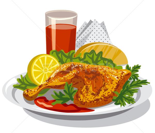 鶏 大腿 実例 トマトソース ジュース ストックフォト © olegtoka