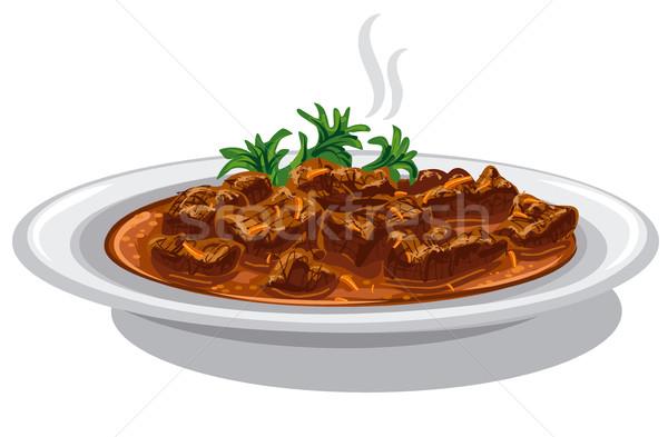 блюдо иллюстрация пластина продовольствие обеда Сток-фото © olegtoka