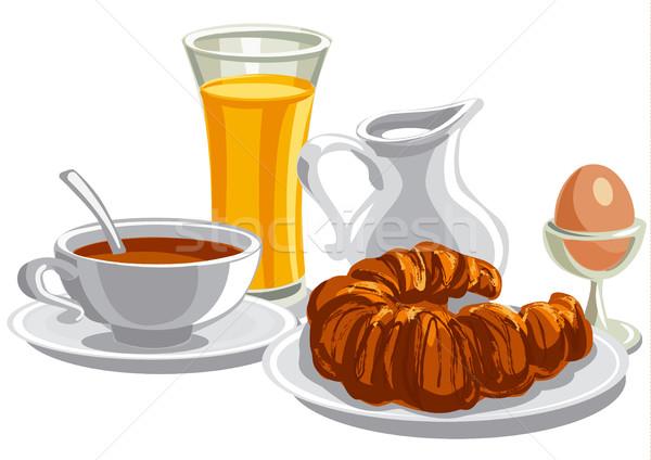 утра здорового завтрак иллюстрация чай круассан Сток-фото © olegtoka