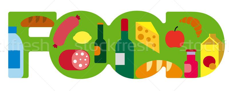 продовольствие продуктовых баннер иллюстрация супермаркета хлеб Сток-фото © olegtoka