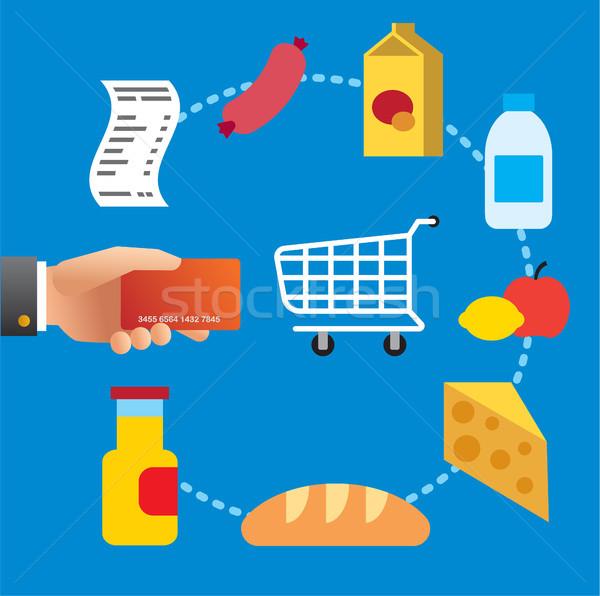 Сток-фото: покупке · продовольствие · еды · супермаркета · иллюстрация · кредитных · карт