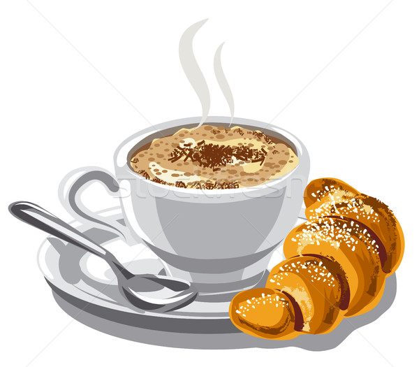 Cappuccino café croissant illustration chaud alimentaire Photo stock © olegtoka