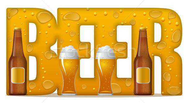 пива иллюстрация слово бутылок стекла Сток-фото © olegtoka