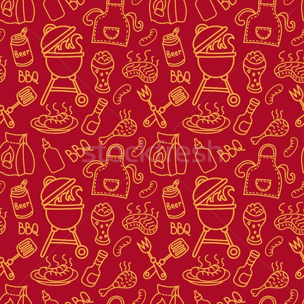 бесшовный барбекю шаблон иллюстрация пикника продовольствие Сток-фото © olegtoka