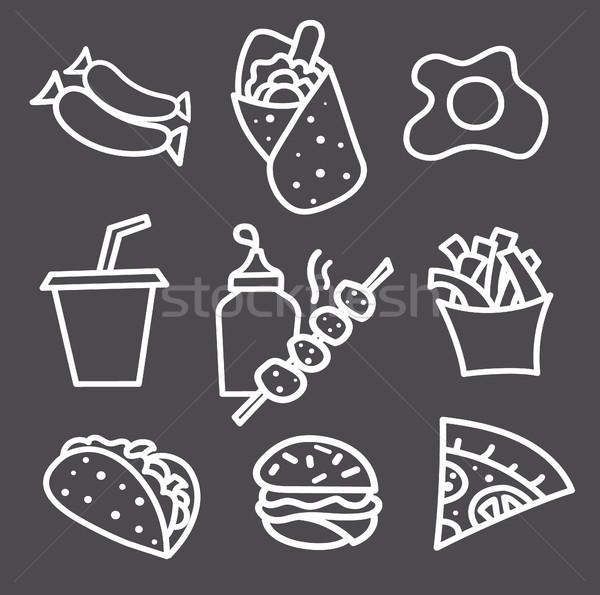 Gıda simgeler işaretleri tek renkli örnek ayarlamak Stok fotoğraf © olegtoka
