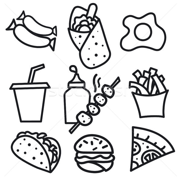 Voedsel iconen borden illustratie ingesteld street food Stockfoto © olegtoka