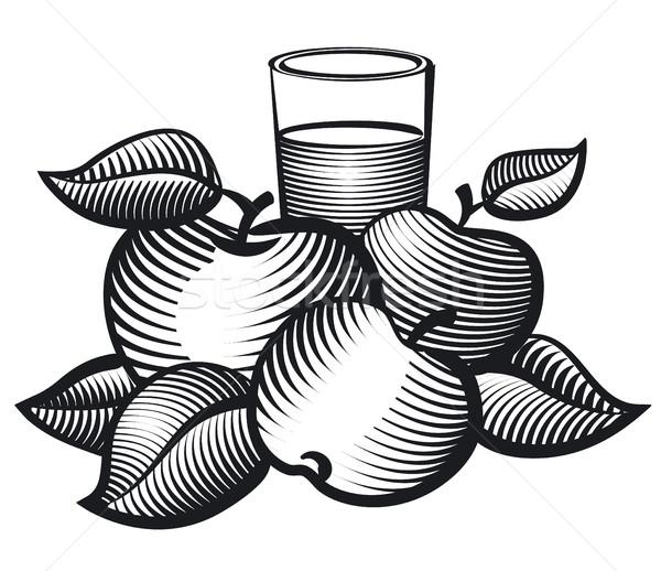Jugo vidrio blanco negro ilustración frutas fondo Foto stock © olegtoka