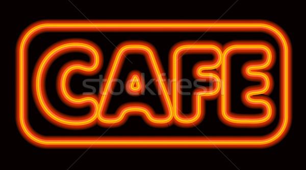 Neon kafe örnek imzalamak gece Stok fotoğraf © olegtoka