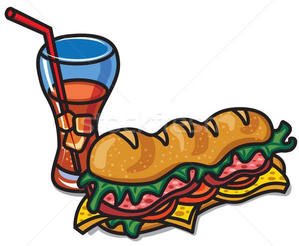 Sandwich Cola illustration boire verre fromages Photo stock © olegtoka