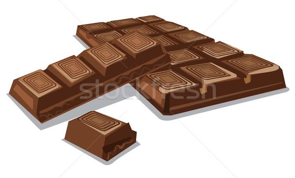 Сток-фото: темный · шоколад · частей · иллюстрация · продовольствие · шоколадом · Бар