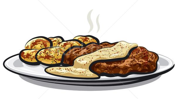 мяса картофель иллюстрация соус Сток-фото © olegtoka