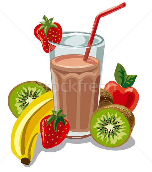 Gyümölcs koktél banán illusztráció kiwi eper Stock fotó © olegtoka