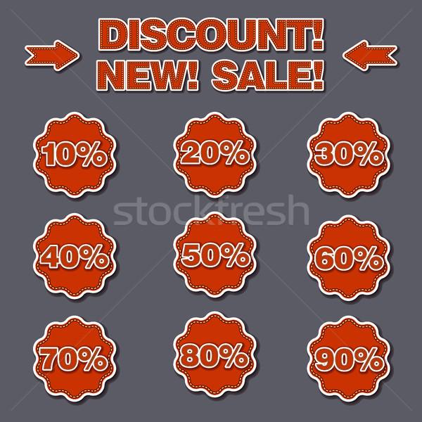 скидка Этикетки иллюстрация набор продажи дизайна Сток-фото © olegtoka