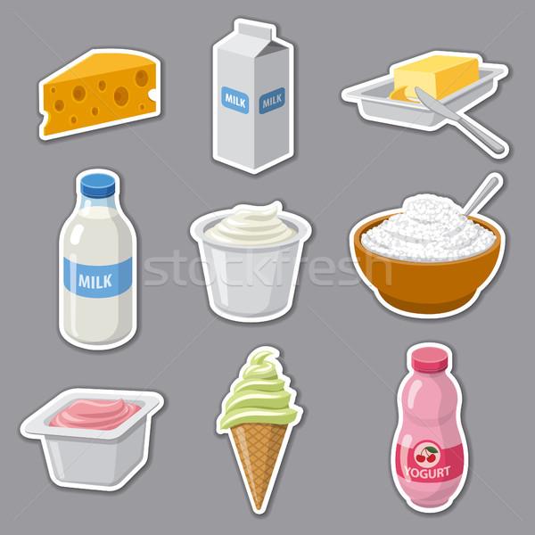 Tej termékek matricák illusztráció szett tejgazdaság Stock fotó © olegtoka