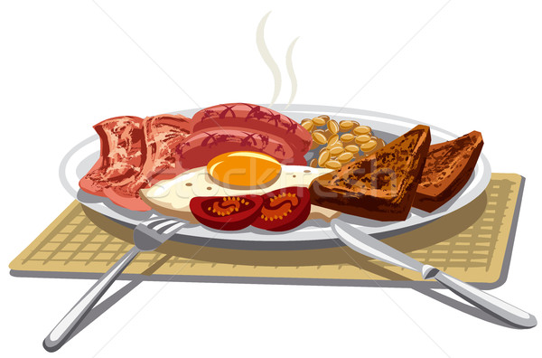 традиционный английский завтрак иллюстрация жареный яйца Сток-фото © olegtoka