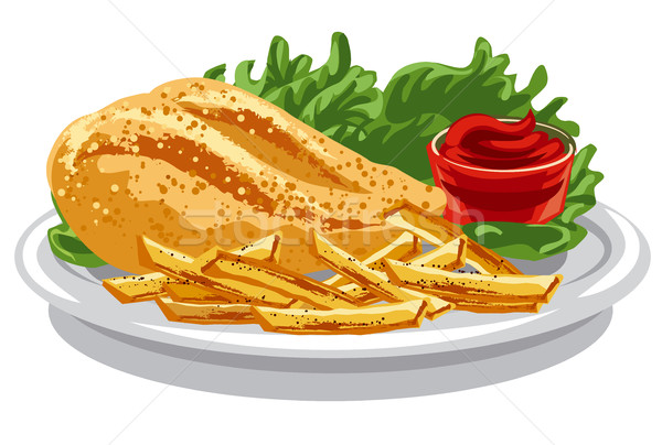 Pollo a la parrilla mama ilustración papas fritas salsa de tomate alimentos Foto stock © olegtoka