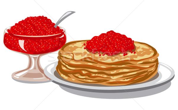 Piros lazac kaviár illusztráció sült palacsinták Stock fotó © olegtoka