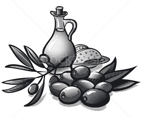 Сток-фото: оливками · нефть · стиль · иллюстрация · оливкового · масла