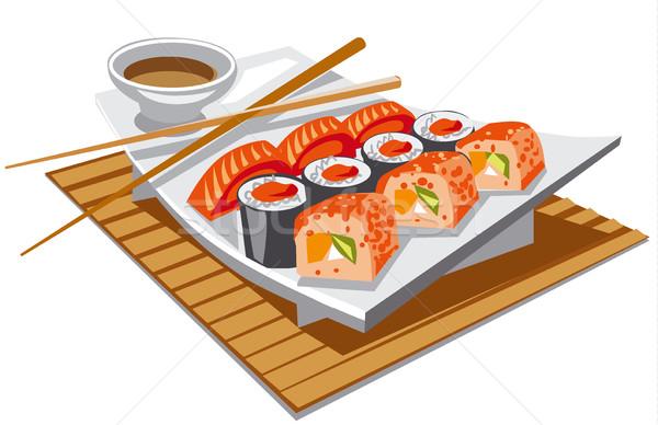 Sushi sojasaus illustratie restaurant kaas Stockfoto © olegtoka