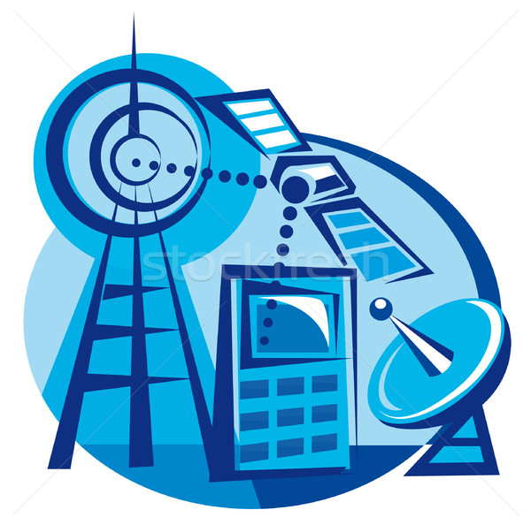 мобильного телефона спутниковой радио башни связи иллюстрация Сток-фото © olegtoka