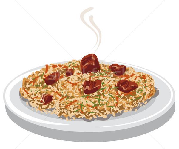 Сток-фото: горячей · мяса · иллюстрация · риса · морковь · пластина