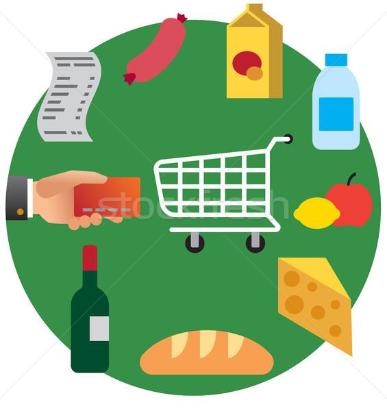 продовольствие торговых супермаркета иллюстрация покупке продуктовых Сток-фото © olegtoka