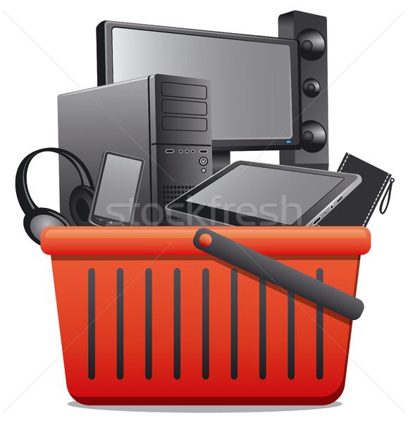 Sepet bilgisayar örnek alışveriş hareketli Stok fotoğraf © olegtoka