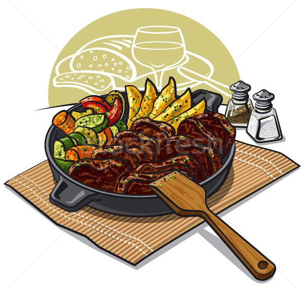 обеда мяса иллюстрация овощей Сток-фото © olegtoka