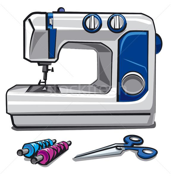 Máquina de costura ilustração moda trabalhar tesoura de costura Foto stock © olegtoka