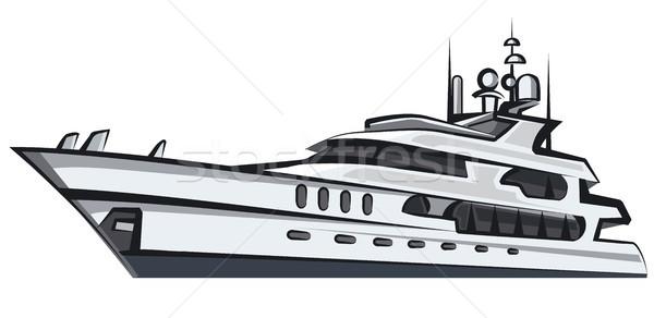 роскошь Motor яхта иллюстрация морем небе Сток-фото © olegtoka