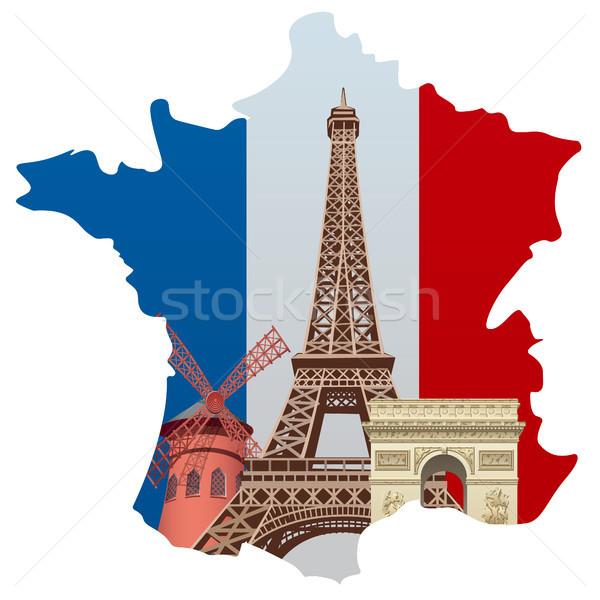 Франция иллюстрация французский карта флаг знак Сток-фото © olegtoka