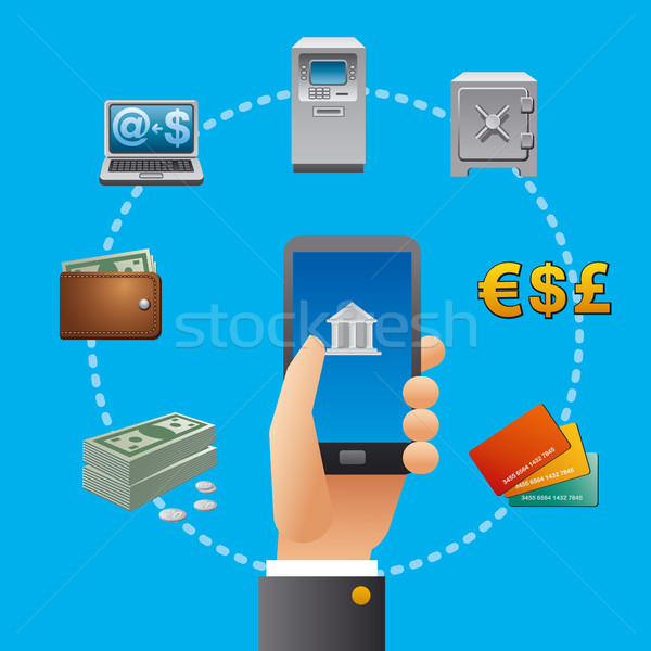 Сток-фото: банковской · услугами · иконки · иллюстрация · стороны